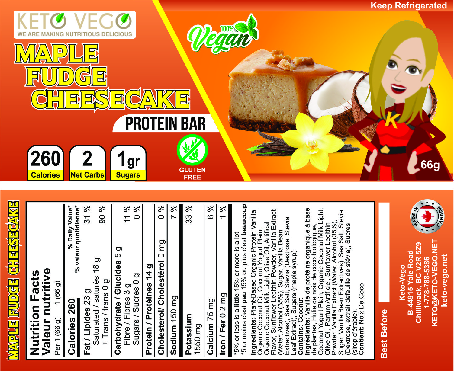 Keto Vego - Maple Fudge Cheesecake label